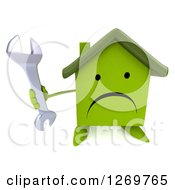 Clipart Of A 3d Unhappy Green House Character Holding Up A Wrench Royalty Free Illustration