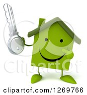 Clipart Of A 3d Happy Green House Character Holding And Pointing To A Key Royalty Free Illustration