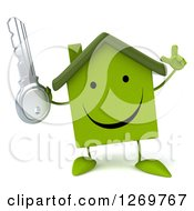 Clipart Of A 3d Happy Green House Character Holding Up A Finger And A Key Royalty Free Illustration