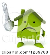 Clipart Of A 3d Unhappy Green House Character Holding A Key Royalty Free Illustration