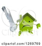Clipart Of A 3d Unhappy Green House Character Holding A Thumb Down And A Key Royalty Free Illustration
