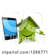 Clipart Of A 3d Happy Green House Character Gesturing Call Me And Holding Up A Smart Phone Royalty Free Illustration