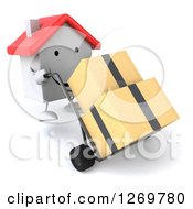 Clipart Of A 3d Happy White House Character Moving Boxes On A Dolly Royalty Free Illustration by Julos