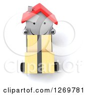 Clipart Of A 3d Happy White House Character Moving Boxes On A Dolly 2 Royalty Free Illustration by Julos