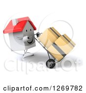 Clipart Of A 3d Happy White House Character Moving Boxes On A Dolly 3 Royalty Free Illustration by Julos