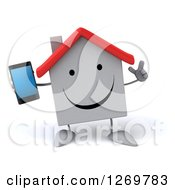 Clipart Of A 3d Happy White House Character Holding Up A Finger And Smart Phone Royalty Free Illustration
