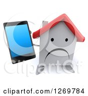 Clipart Of A 3d Unhappy White House Character Holding Up A Smart Phone Royalty Free Illustration