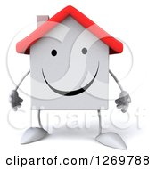 Clipart Of A 3d Happy White House Character Royalty Free Illustration