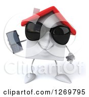 Clipart Of A 3d Happy White House Character Wearing Sunglasses And Holding A Cell Phone Royalty Free Illustration