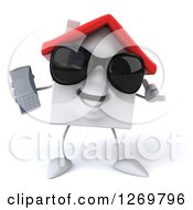 Clipart Of A 3d White House Character Wearing Sunglasses Gesturing Call Me And Holding A Cell Phone Royalty Free Illustration