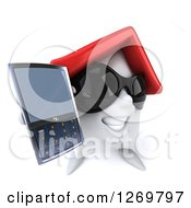 Clipart Of A 3d Happy White House Character Wearing Sunglasses And Holding Up A Cell Phone Royalty Free Illustration