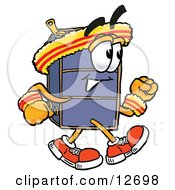 Clipart Picture Of A Suitcase Cartoon Character Speed Walking Or Jogging