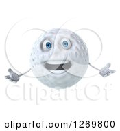 Clipart Of A 3d Welcoming Golf Ball Character Royalty Free Illustration