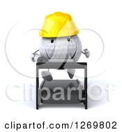 Clipart Of A 3d Happy Golf Ball Contractor Character Running On A Treadmill With Blueprints Royalty Free Illustration