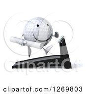Clipart Of A 3d Happy Golf Ball Character Running On A Treadmill With Blueprints Royalty Free Illustration