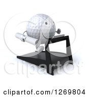 Clipart Of A 3d Happy Golf Ball Character Running On A Treadmill With Blueprints 2 Royalty Free Illustration