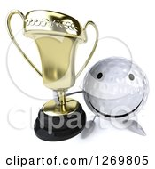 Clipart Of A 3d Happy Golf Ball Character Holding Up A Trophy Royalty Free Illustration