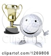 Clipart Of A 3d Happy Golf Ball Character Shrugging And Holding A Trophy Royalty Free Illustration