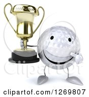 Clipart Of A 3d Happy Golf Ball Character Holding And Pointing At A Trophy Royalty Free Illustration