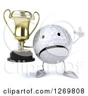 Clipart Of A 3d Unhappy Golf Ball Character Holding Up A Finger And A Trophy Royalty Free Illustration