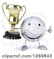 Clipart Of A 3d Happy Golf Ball Character Giving A Thumb Up And Holding A Trophy Royalty Free Illustration
