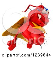 Clipart Of A 3d Red Germ Super Hero Flying To The Right Royalty Free Illustration