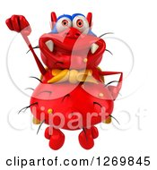 Clipart Of A 3d Red Germ Super Hero Flying Royalty Free Illustration
