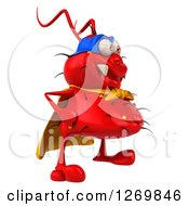 Clipart Of A 3d Red Germ Super Hero Facing Right Royalty Free Illustration