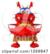Clipart Of A 3d Red Germ Super Hero Royalty Free Illustration by Julos