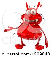 Clipart Of A 3d Red Germ Presenting Royalty Free Illustration