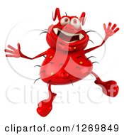 Clipart Of A 3d Red Germ Jumping Royalty Free Illustration