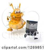 Clipart Of A 3d Yellow Virus Monster Chasing After A Computer Tower Royalty Free Illustration