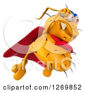 Clipart Of A 3d Yellow Germ Super Hero Flying To The Right Royalty Free Illustration