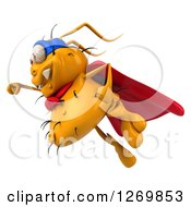 Clipart Of A 3d Yellow Germ Super Hero Flying To The Left Royalty Free Illustration