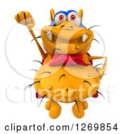 Clipart Of A 3d Yellow Germ Super Hero Flying Royalty Free Illustration