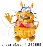 Clipart Of A 3d Yellow Germ Super Hero Looking Up And Waving Royalty Free Illustration