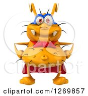 Clipart Of A 3d Yellow Germ Super Hero Royalty Free Illustration