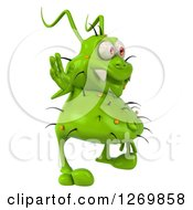 Clipart Of A 3d Green Germ Facing Right And Waving Royalty Free Illustration