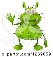 Clipart Of A 3d Green Germ Waving Royalty Free Illustration