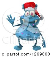 Clipart Of A 3d Blue Christmas Germ Wearing A Santa Hat And Waving Royalty Free Illustration