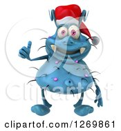 Clipart Of A 3d Blue Christmas Germ Wearing A Santa Hat And Giving A Thumb Up Royalty Free Illustration