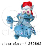 Clipart Of A 3d Blue Christmas Germ Wearing A Santa Hat And Holding A Thumb Down Royalty Free Illustration