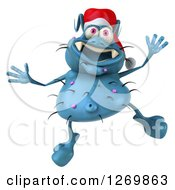 Clipart Of A 3d Blue Christmas Germ Wearing A Santa Hat And Jumping Royalty Free Illustration