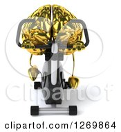Clipart Of A 3d Gold Brain Character Exercising On A Spin Bike Royalty Free Illustration