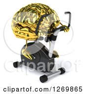 Clipart Of A 3d Gold Brain Character Exercising On A Spin Bike Facing Slightly Right Royalty Free Illustration