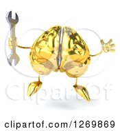 Clipart Of A 3d Gold Brain Character Jumping And Holding A Wrench Royalty Free Illustration