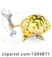 Clipart Of A 3d Gold Brain Character Holding Up A Wrench Royalty Free Illustration
