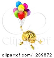 Clipart Of A 3d Gold Brain Character Floating With Balloons Royalty Free Illustration