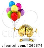Clipart Of A 3d Gold Brain Character Giving A Thumb Up And Holding Balloons Royalty Free Illustration