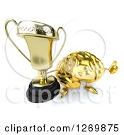 Clipart Of A 3d Gold Brain Character Holding A Thumb Up And Trophy Royalty Free Illustration